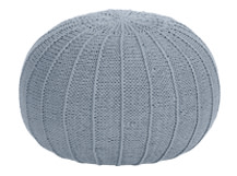 Purl Large Knitted Ottoman, Overcast Blue