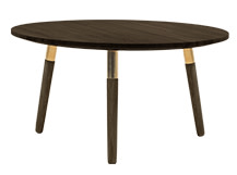 Range Round Coffee Table, Dark Stain Ash Veneer and Brass