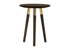 Range Side Table, Dark Stain Ash Veneer and Brass
