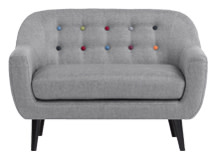 Mini Ritchie 2 Seater Sofa, Pearl Grey With Rainbow Buttons