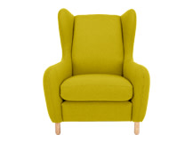 Rubens Wing Back Armchair, Kelp Green Wool Mix