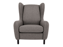 Rubens Wing Back Armchair, Nickel Grey Wool Mix