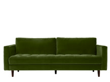 Scott 3 Seater Sofa, Grass Cotton Velvet