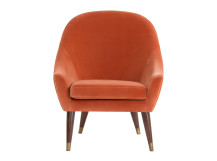 Seattle Armchair, Burnt Orange Cotton Velvet