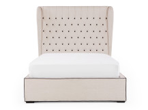 Bergerac Super Kingsize Bed with Storage, Stone with Contrast Piping