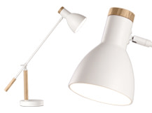 Cohen Table Lamp, White and Natural Oak
