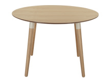 Edelweiss Round Dining Table, Ash and White