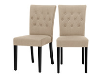 2 x Flynn Dining Chairs, Biscuit Beige and Black