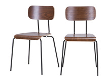 2 x Haywood Dining Chairs, Walnut and Black