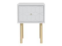 Hedra Bedside Table, Grey and Brass