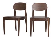 2 x Joseph Dining Chairs, Dark Stain Ash
