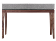 Lansdowne Upholstered Dressing Table, Walnut and Heron Grey