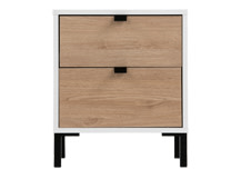 Latymer Bedside Table, Oak Effect and White Gloss
