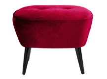 Lotus Footstool, Crimson Red