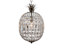 Miranda Pendant Chandelier, Clear Glass and Nickel
