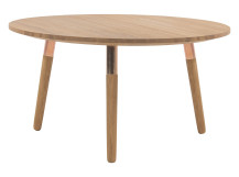 Range Round Coffee Table, Solid Oak and Copper