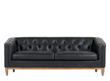 Rogers 3 Seater Sofa, Oxford Black Premium Leather