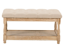 Seville Ottoman Coffee Table, Biscuit Beige with Antique Oak Legs
