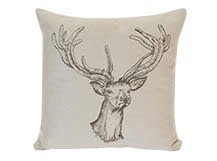 Stag Head Large Scatter Cushion 50 x 50cm, Silver