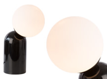 Vetro Table Lamp, Black and Opal Glass