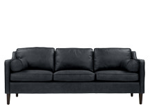 Walken 3 Seater Sofa, Black Premium Leather