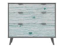 Woody Chest of Drawers, Teal and Grey