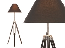 Navy Tripod Floor Lamp, Black