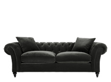 Bardot 3 Seater Chesterfield Sofa, Mink Grey Velvet