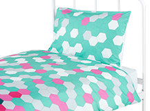 Brights Single 100% Cotton Bed Set, Pink and Turquoise