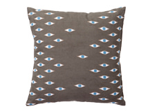 Eyes Embroidered Cushion 45 x 45cm,  Taupe