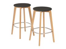 2 x Fjord Bar Stool, Oak and Grey