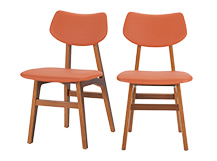 2 x Jacob Dining Chairs, Amber Orange and Walnut