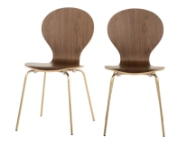 2 x Kitsch Dining Chairs, Walnut and Brass