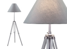Navy Tripod Floor Lamp, Grey