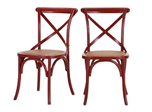 2 x Rochelle Dining Chairs, Red