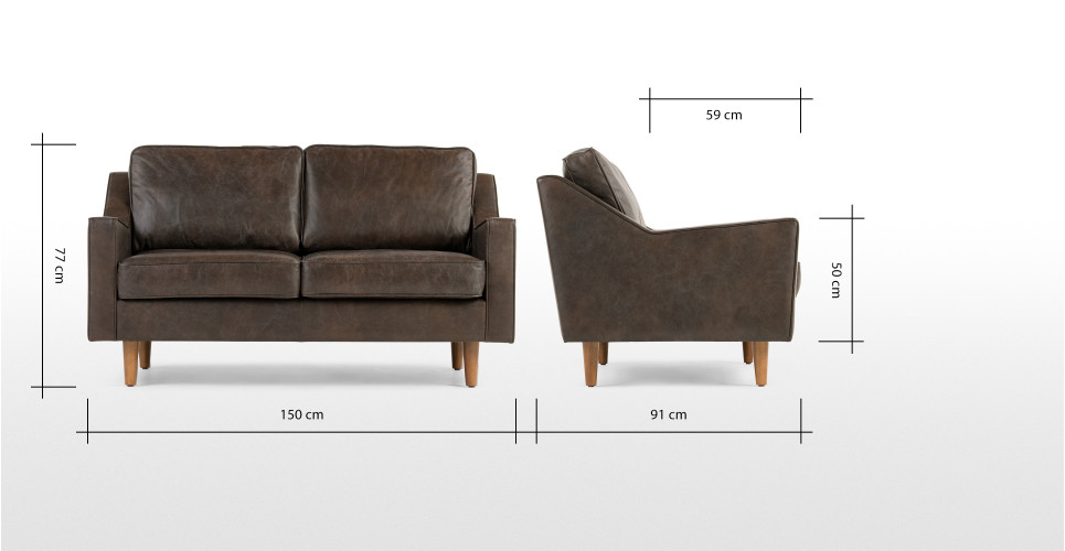 Dallas 2 Seater Sofa Oxford Brown Premium Leather