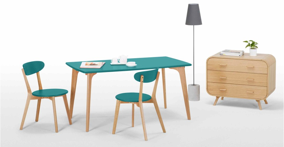 Fjord Rectangle Dining Table Oak And Jay Blue