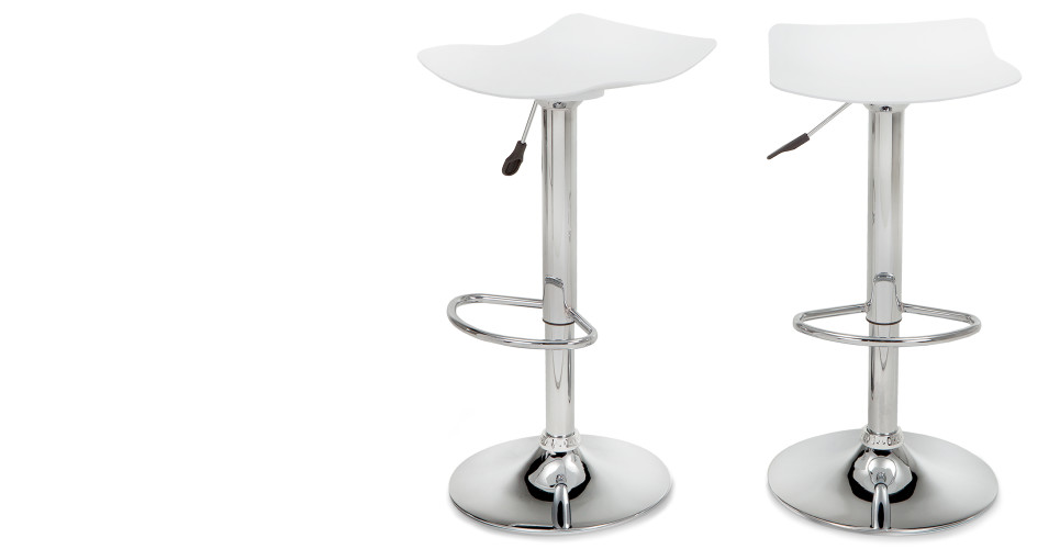 Pair Of Kite Adjustable White Kitchen Bar Stools Made Com