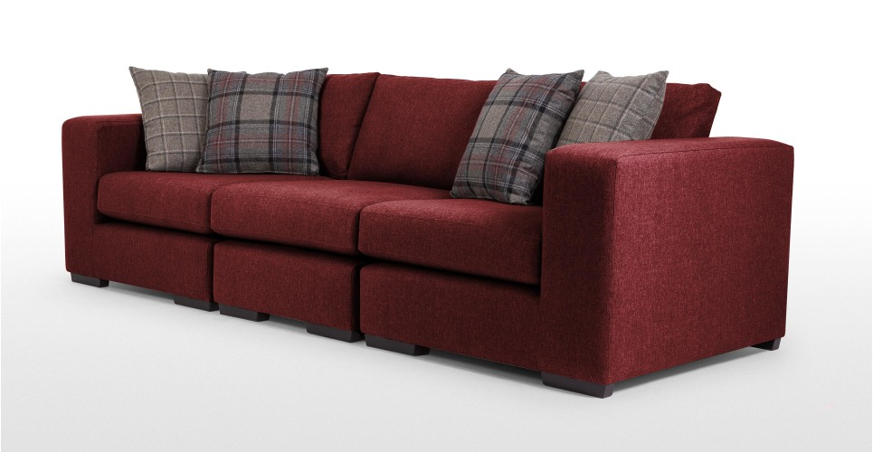 Abingdon 4 seater modular sofa in deep red madecom for Deep red sectional sofa