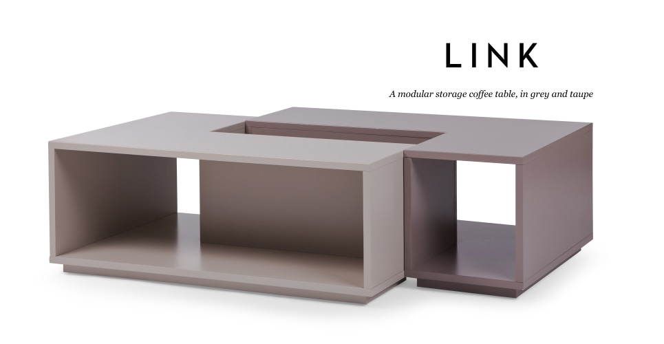 Link modular storage coffee table in grey and taupe for Modular coffee table