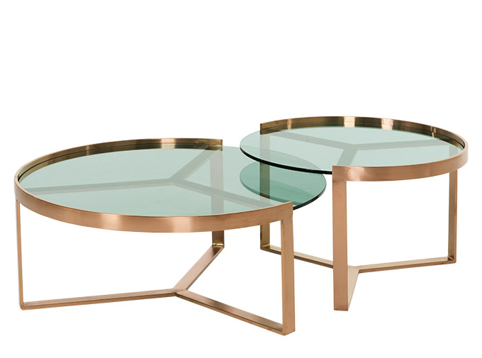 aula nesting coffee table copper and green glass. Black Bedroom Furniture Sets. Home Design Ideas