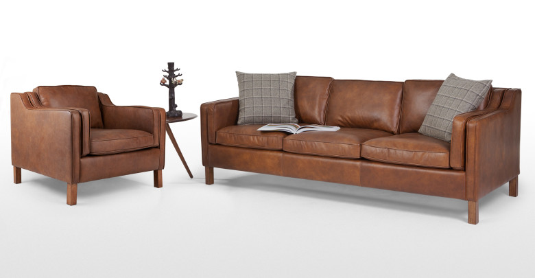 Canape tan leather armchair for Canape leather sofa