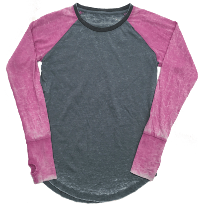 Picture of Burnout Grey/Pink Baseball Shirt