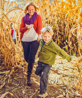 Mom & Son Running - Corn Maze