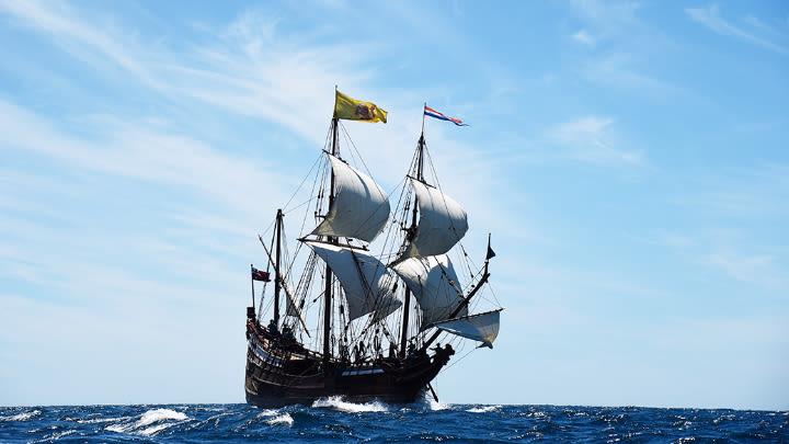 The Duyfken in full sail.