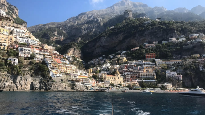 Positano, Italy (Image uploaded to Reddit by u/tacoholic92).