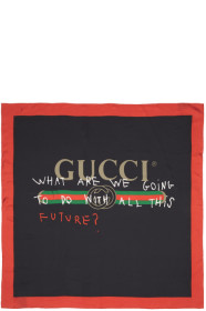 구찌 Gucci Black & Red Silk Future Logo Scarf