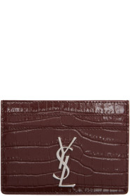 생 로랑 Saint Laurent Red Croc Logo Card Holder