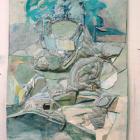 Hilary Harnischfeger, untitled, 2009, ink, paper, plaster, smokey quartz, 23 x 17.5 x 2 in.