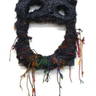 Jacin Giordano, Mask for hunting rainbows (big smile), 2013, yarn and acrylic on canvas, 23 x 12 in. (58 1/2 X 30 1/2 cm.), Sultana, Paris